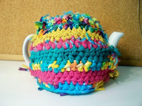 Teapot Cozy Bohemian Reversible, Recycled, Tye Dye, Handmade