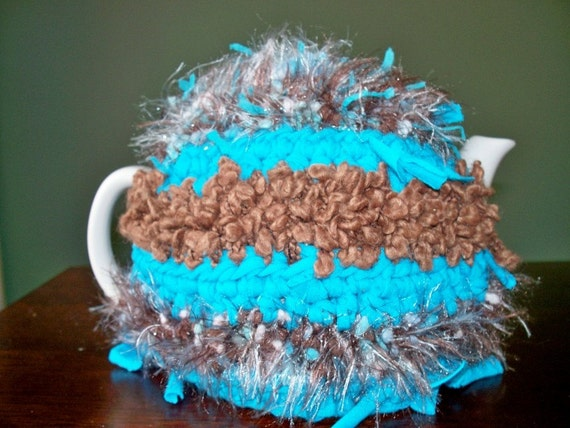 Teapot Cozy Cosy, Handmade, Bohemian  Recycled and Crocheted, Large