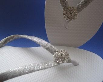 Gillian Bridal Flip Flops, Custom Flip Flops, Rhinestone Dancing Shoes, Bridal Sandals, Bling Wedding Flip Flops Beach Wedding Bridal Shoes