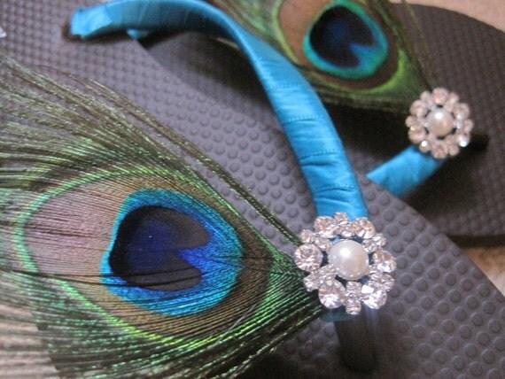 Gabriella Bridal Flip Flops, Peacock Custom Flip Flops, Peacock Dancing Shoes, Peacock Bridal Sandals Wedding Flip Flops Beach Wedding Shoes