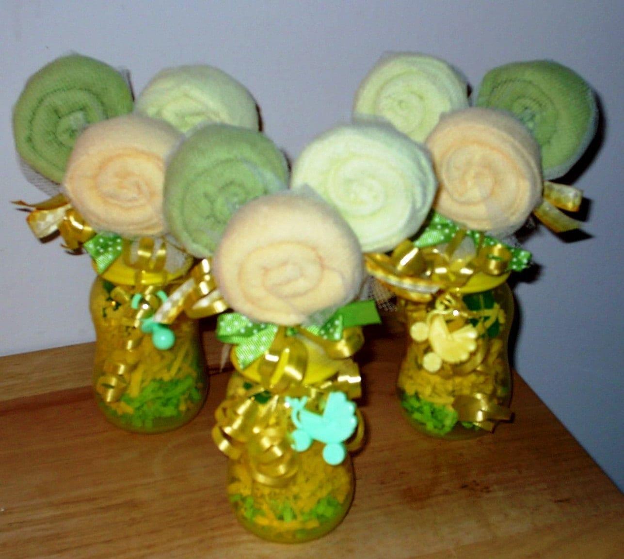 So sweet baby washcloth lollipop spoon and bottle vase