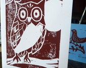 Owl Linocut Blank Card