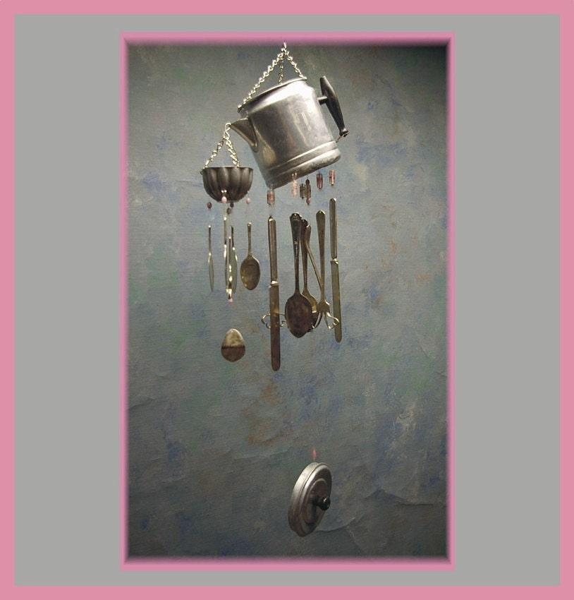 Silverware windchime wind chimes double coffee pot fancy pink for Wind chimes out of silverware