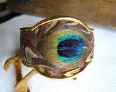 peacock feather bracelet vintage cuff