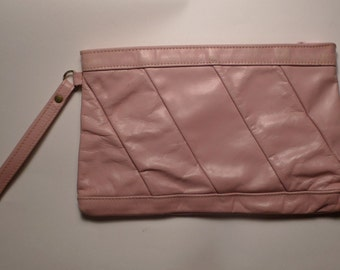 vintage pink leather clutch bag rockabilly 1980s