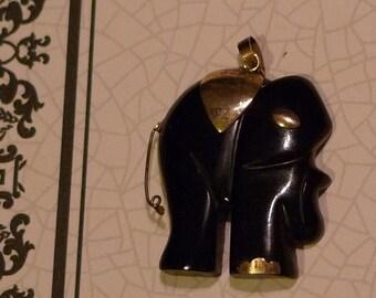 vintage elephant  art deco black and gold antique charm pendant