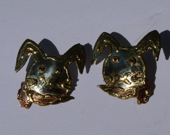 rabbits vintage jewelry 80s silver cooper brass and gold