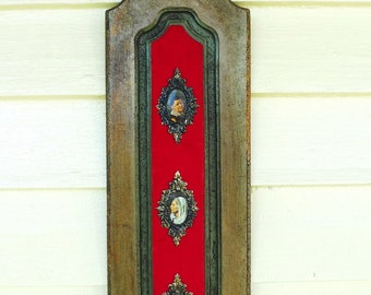 vintage  red velvet wall hanging  faux bois and  brass stampings 1970s