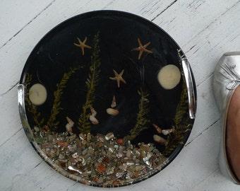 mod cool cocktail tray chrome  handles seashells 1974
