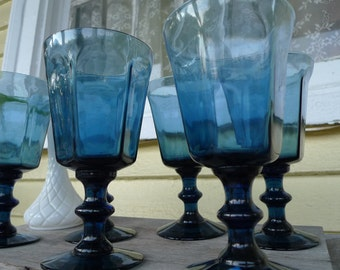 RESERVED 4 Gina  Antique Blue crystal  Lenox goblets 1974