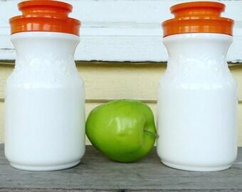 milkglass jars Tang maxwell house  storage jars 1960s white glass orange lid mid century farmhouse