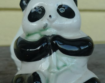 cute panda  vintage figurine kawaii black and white decor