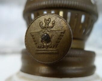 vintage lamp milkglass hurricane lamp wick brass japan 1970s