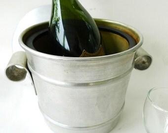 antique ice bucket Kraftware art deco silver aluminum 1940s