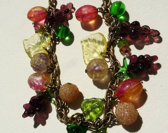 hollywood retro vintage fruit necklace glass 1950s  charm necklace rainbow