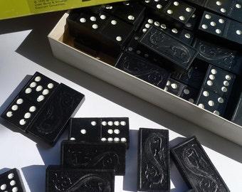 dominoes wooden dragon dominoes 91 pieces milton bradley 1970