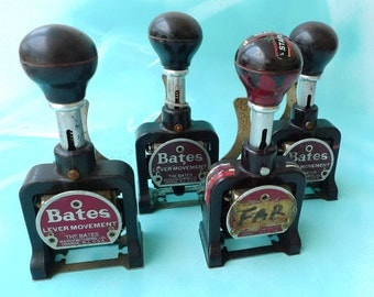 vintage bates numbering machine bakelite antique machines