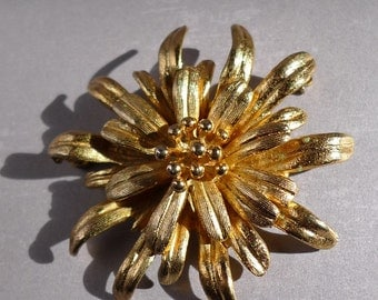 cozy golden flower vintage Napier Sterling golden flower pin