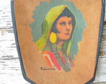 vintage art  from panama the hawk 1950s Panama souvenir art