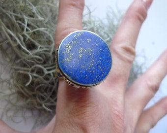 lapis  lazuli  ring silver champagne tribal ring  afghanistan