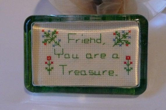 vintage glass treasure friends crossstich love
