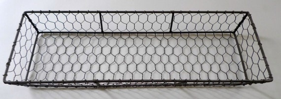 Vintage Wire Basket Chicken Wire Tray Rustic Decor By