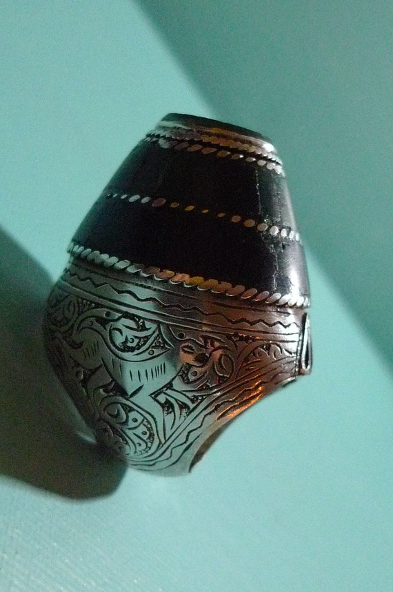 tribal ring silver and green malachite afghan
