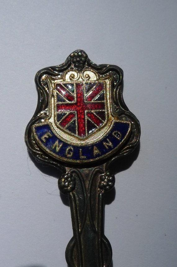vintage spoon pewter london england souvenir spoon union jack