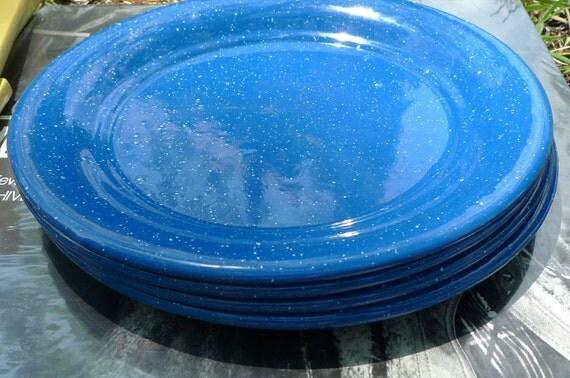 blue enamel plates speckle vintage enamelware 1960s