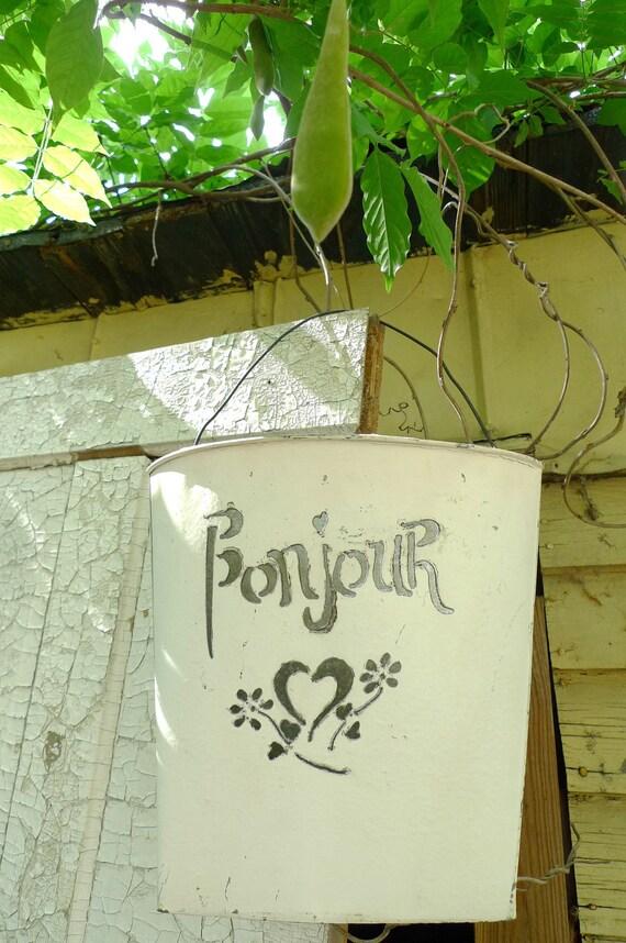 white metal pail farmhouse 1970s folk art bon jour bucket