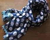 Navy Floral Print Scarf - Vintage Cotton and Wool