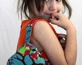 Girl's corduroy handbag with funky owls