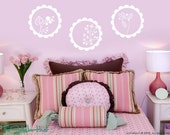 Frilly Circles with Flowers Vinyl Wall Art Decals Stickers Graphics 911