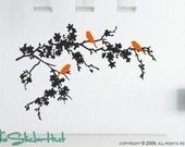 3 Birds on Flowering Branches Vinyl Wall Art Text Stickers Decals Graphics