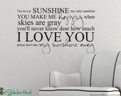 You Are My Sunshine My Only Sunshine - Vinyl Lettering - Nursery - Bedroom Decor - Sticky Vinyl Wall Accent Art Words Stickers Decals 1330