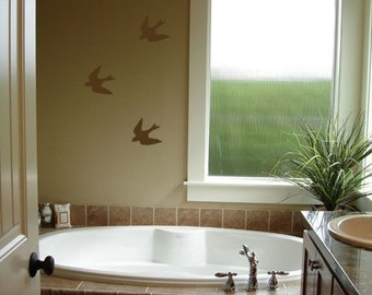 3 Small Flying Birds - Vinyl Decals - Vinyl Lettering - Removeable - Home Decor - Vinyl Decals - Wall Art Graphics Decals Stickers