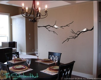 2 Birds on with 2 Bare Branches - Home Decor Decals - Vinyl Lettering - Removeable Art - Home Decor Vinyl Wall Stickers Decals Graphics 766
