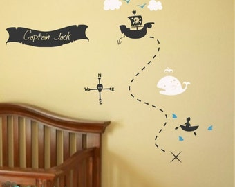 Pirate Treasure Map Your Name Boys Room Nursery - Vinyl Lettering - Wall Decal - Bedroom Decor - Vinyl Wall Art Graphics Decals Stickers 943