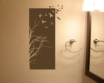Tree Birds Half Panel • Vinyl Lettering • Home Decor Stickers • Wall Art Graphics Lettering Decals Stickers 956
