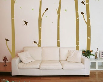 5 Birch Trees with 6 Birds - Home Decor - Vinyl Lettering - Removable - Wall Decals - Removeable - Vinyl Wall Art Graphic Sticker Decal 1110