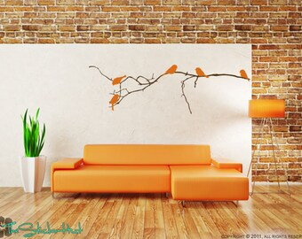 Bare Branch 5 Birds Vinyl Wall Art Graphics Decals Stickers 1141