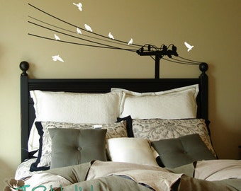 Pigeons & Powerlines - Vinyl Lettering - Wall Stickers - Home Decor- Vinyl Wall Art Words Decals Graphics Stickers Decals 1196