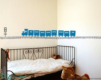 Large Train with Tracks Vinyl Wall Quote Saying Childrens Decor Vinyl Lettering - Playroom Wall Decal Vinyl Wall Decal Stickers Decals 1219