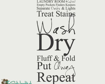 Laundry Room Rules Empty Pockets Finders Keepers - Laundry Room Decor - Typographic Quote Vinyl Wall Art Graphics Decals Stickers 1281