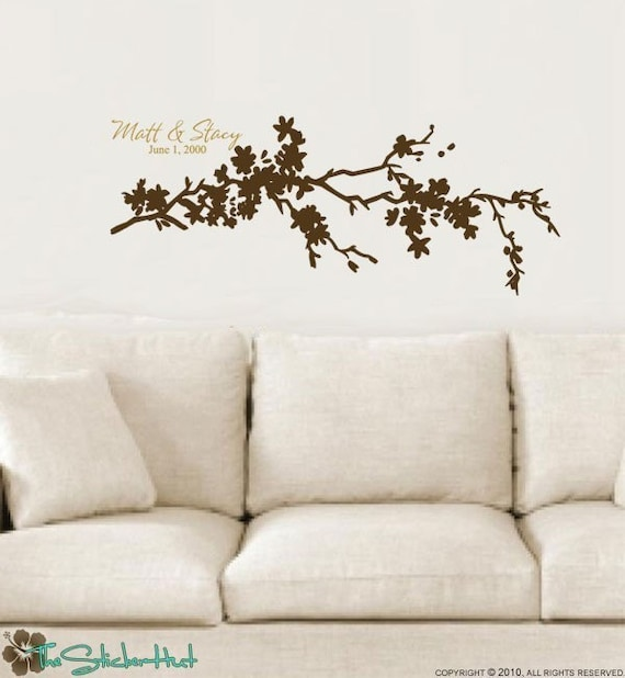 Flowering Branch with Your Family Name Year Established or Kids Names Vinyl Wall Art Words Decals Stickers 782