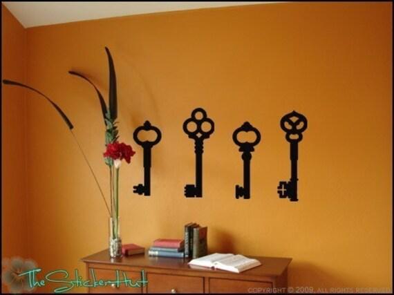 Wall Decor Vintage Keys : Items similar to antique key vinyl lettering home