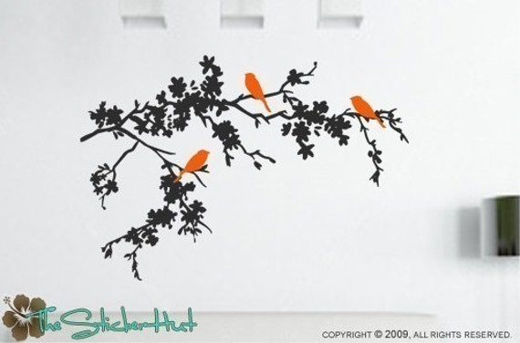 3 Birds on Flowering Tree Branches - Home Decor Vinyl Wall Art Text Stickers Decals Graphics 722