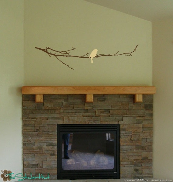 Bare Branch with Bird - Home Decor Ideas - Wall Letters - Vinyl Lettering - Wall Decals - Wall Art Graphics Lettering Decals Stickers 1082