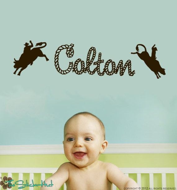 Bull Riders with Your Rope Name - Cowboy Theme - Western Decor - Nursery Vinyl Wall Art - Words Decals Graphics Stickers Decals 1298
