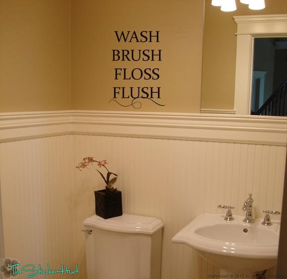 Items Similar To Wash Brush Floss Flush Bathroom Decor